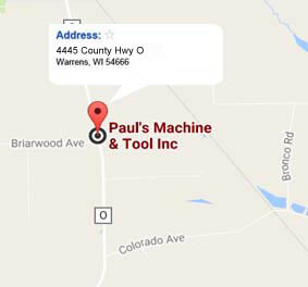 get directions on Google to Pauls Machine and Tool in Warrens, WI
